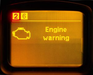 Engine malfunction. Immediately stop the vehicle with extreme care, and turn off the engine.