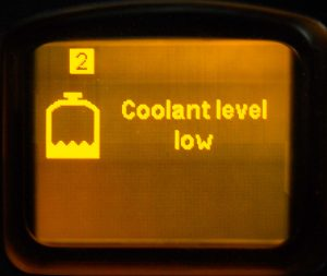 The level of coolant is low