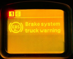 Malfunction of the EBS braking system of the tractor.