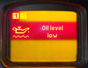 Low oil level or high in the engine pan. Or the oil level sensor is defective.