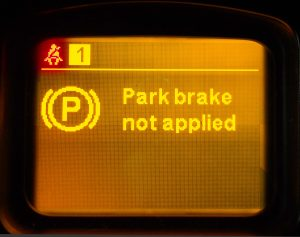 The parking brake is not activated - the car is not braked